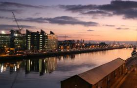 sunrise over Dublins river Liffey